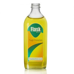 300ml Clear Flask Bottle w Label