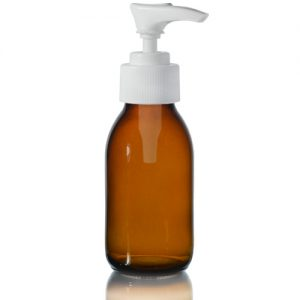 100ml Amber Glass Sirop Bottle with White Lotion Pump