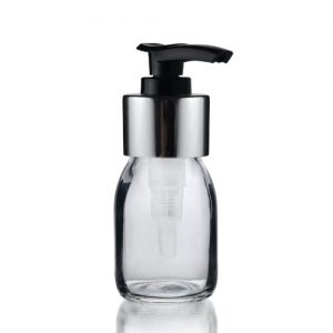30ml Clear Sirop Bottle with Black and Silver Lotion Pump