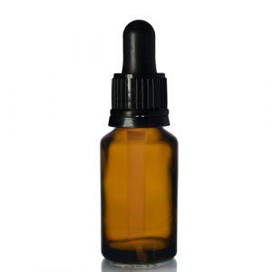 25ml Amber Dropper Bottle w Black pip